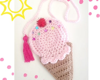 Ice Cream cone crochet purse, pink, toddler purse, crochet purse, childrens purse