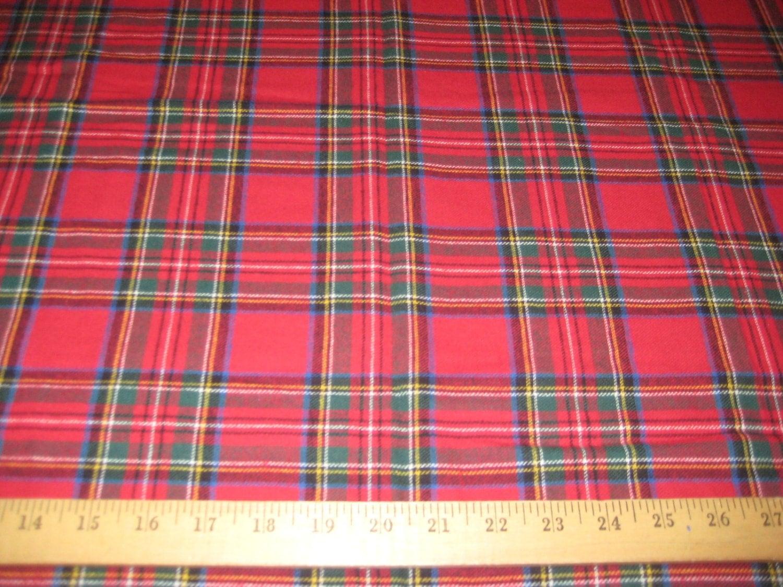 red royal stewart plaid 100 cotton flannel fabric 58. Black Bedroom Furniture Sets. Home Design Ideas