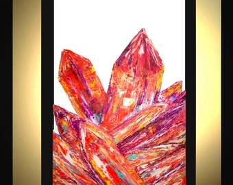Large Abstract Painting Original Acrylic Oil Painting Modern Canvas Art Orange Purple White Crystals 36x24 Texture Palette Knife J.Leigh