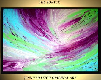 "Original Large Abstract Painting Modern Acrylic Oil Painting Canvas Art  Purple Silver Blue VORTEX  36x24"" Palette Knife Texture  J.LEIGH"