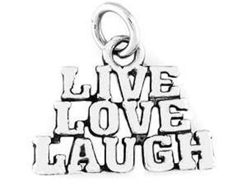 Sterling Silver Live Love Laugh Charm (Flat Charm)