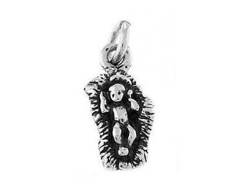 Sterling Silver Jesus in a Manger Charm (Flat Back Charm)