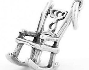 Sterling Silver Rocking Chair Charm Pendant (3D Charm)