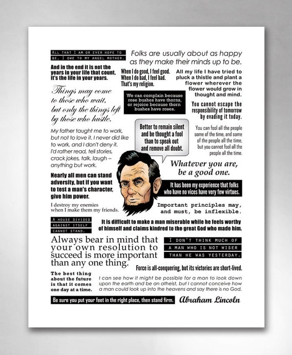 ABRAHAM LINCOLN QUOTES Smart Funny Inspirational QuoteHeads Art Print 11x14 by Rob Ozborne