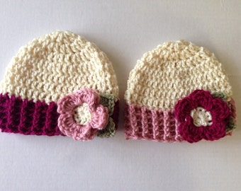 twin hats infant twin caps with flowers baby girl twin hats twin girl baby beanie