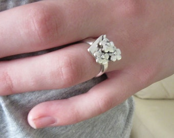 Sterling Silver Ring - Childrens ring - Silver flower ring - Artistic jewelry - Ready to Ship Size 5 1/2 - Made in Israel