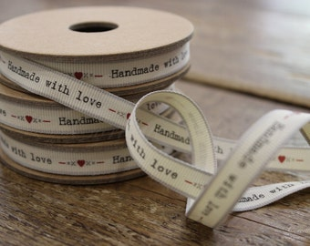 EAST OF INDIA vintage word ribbon - handmade with love - 3 metres roll