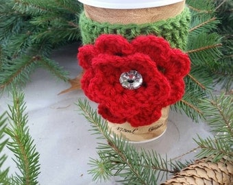 Crochet Christmas Cozy with Red Flower*Ready to ship the next business day*