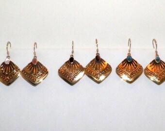5 Pair Inlaid Stones Mayan Sun Earrings