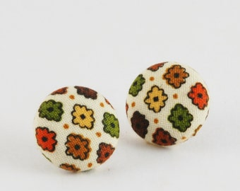 Fall Earrings - Fabric Button Earrings - Cover Button Earrings - Stud Earrings - Multi Color Earrings