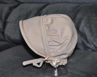 Cream Corduroy Bonnet with Ivory Accents