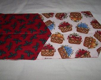 Quilted reversible Christmas table runner