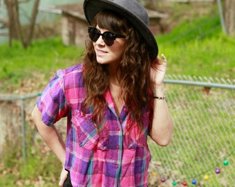 Vintage Pink Plaid Button Up