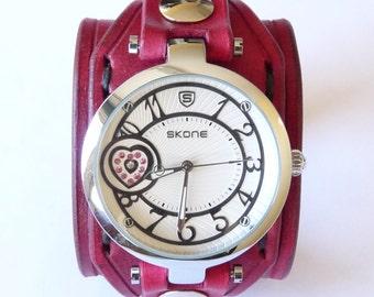 Women Watches, Women Leather Watch, Red Watch, Elegant Women's Watch, Women's Leather Cuff
