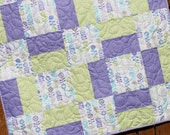 Baby Quilt, Violet Baby Girl Quilt, Green, White, Purple, Nursery Bedding, Crib Quilt, From Bump to Baby, Handmade, Modern, Pastel, Blanket