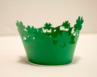 Adorable Green Shamrock Scroll St. Patricks Day Cupcake Wrappers (set of 12)