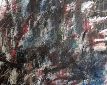 12-11-14 cool...cool...rain (abstract expressionist painting, gold, white, blue, green, cream, red, yellow)