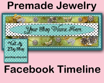 PREMADE FACEBOOK JEWELRY TimeLine Cover Design with Matching Avatar Set, Premade Facebbok Jewelry Banner