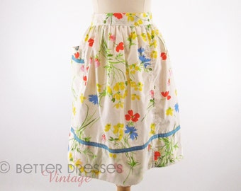 60s/70s Bright Floral on White Half Apron