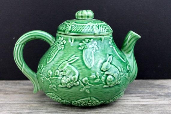 Vintage bordallo pinheiro tea pot green rabbit made in - Bordallo pinheiro portugal ...