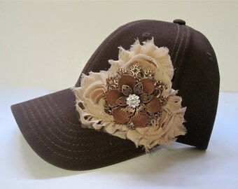 Brown Trucker Baseball Cap Hat with Champagne Beige Flowers and a Unique Copper and Rhinestone Accent
