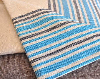 Linen Peshtemal Towel Turkish bath and Beach Towel in turquoise blue dark blue stripes on natural linen background