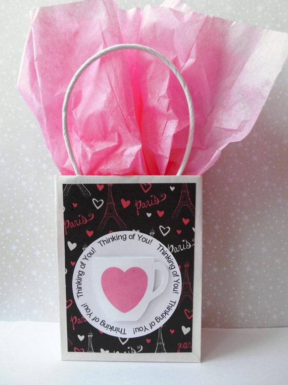 Mini Gift Bag, Pink & Black Paris with Mug - Thinking of You