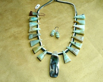 19-28 Inch Dramatic Vintage Amazonite Crocheted Necklace with Pendant and Earrings