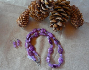 23 Inch Purple Sugilite and Lavender Jade Necklace with Earrings