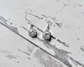 Diamante earrings flower bridal wedding vintage diamonte rhinestone