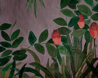 Purple Jungle  - illustration - giclee print