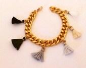 Tassel Charm Bracelet in Neutral Ombré