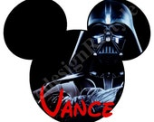 Star Wars Darth Vader Mickey Mouse Personalized Iron-On Digital File