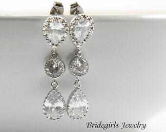 Bridal Earrings,Teardrops Earrings, Cubic Zirconia,Wedding Jewelry Bridesmaid Jewelry,Bridesmaid Earring,Bridesmaids Gift,Crystal Earrings