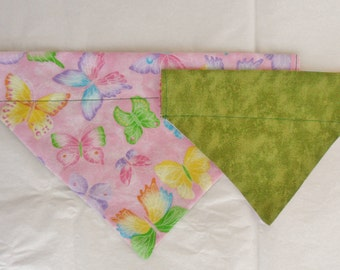Spring Slip Over The Collar Dog Bandana - Pink and Green, Butterflies, Fashion Bandana, Puppy Bandana, Reversible, Dog apparel