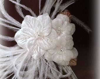 Elegant White Velvet Flower Feather Hair Fascinator