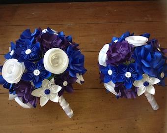 Paper flower bouquet - Bridal and Toss Bouquet, royal blue flowers, unique bouquet, custom bouquet, simple bouquets, origami flowers.