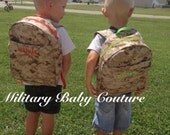 Toodler Military Backpack--Laminate interior fabric--made to order--choose fabrics