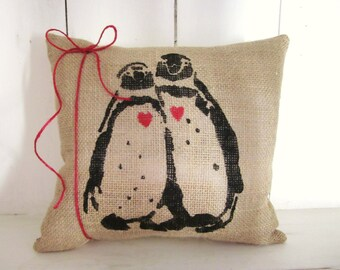 Burlap pillow, penguin pillows, decorative pillows,farmhouse decor, wedding gift,penguins, valentine's day gift