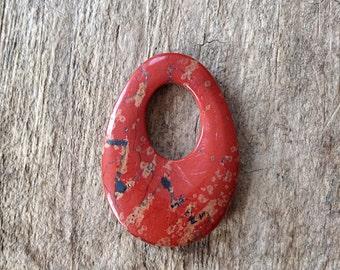 35x25mm Red Jasper Pendant, Oval Pendant, Stone Pendant, Jewelry Making, DIY, Craft Supplies, Jewelry Supplies
