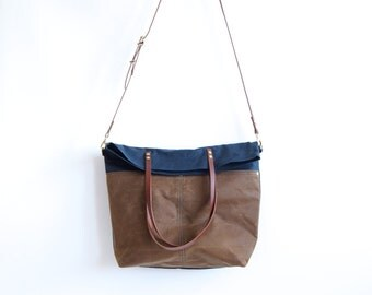 Fold Over Waxed CANVAS Crossbody tote with LEATHER Straps  - Navy and Tan MAREE - Cross Body Adjustable Leather Shoulder Bag