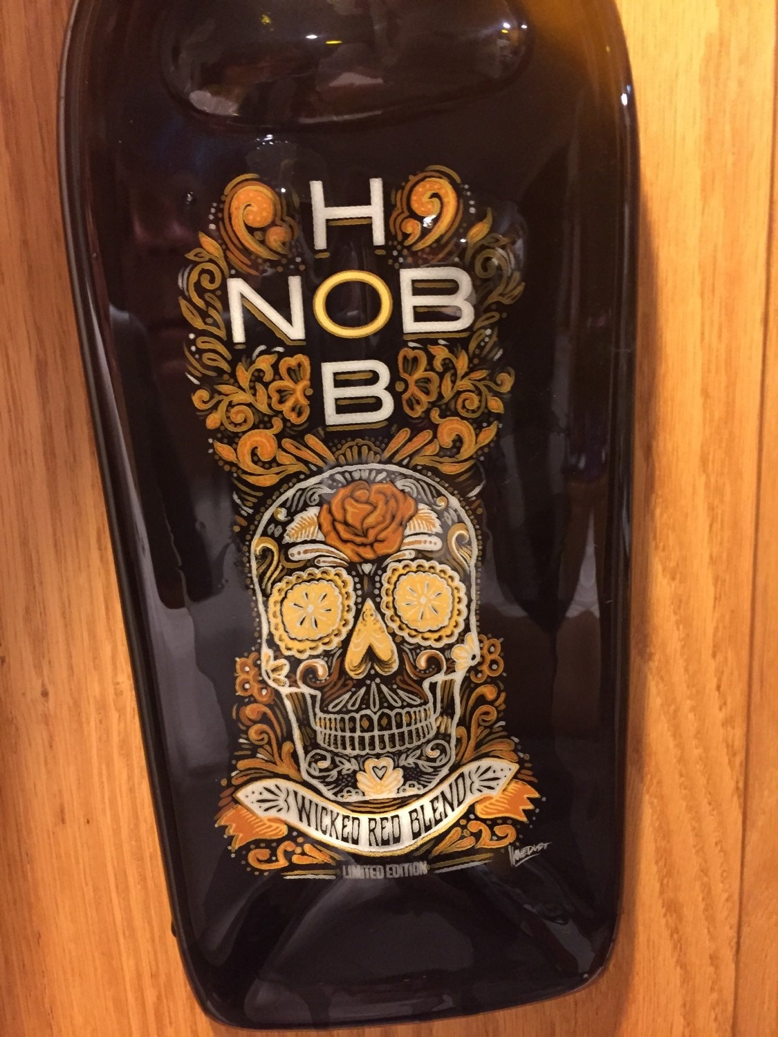 Hob Nob Sugar Skull Amber Glass Wine Bottle Cheese Tray/Platter
