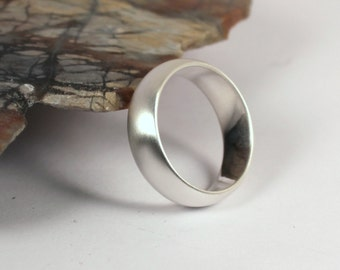 6mm Wide Half Round Brushed Silver Band Ring, Sterling Silver, Made to Order