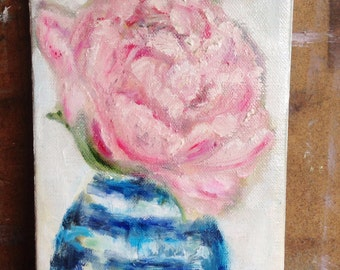 Peony .. original oil painting  5x7