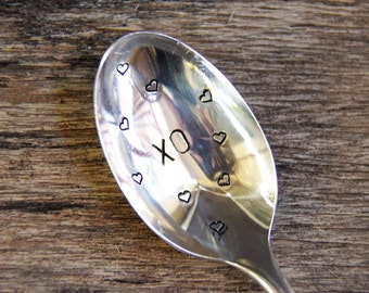 XO (kisses and hugs) hearts - Upcycled Vintage Silverware Spoon hand stamped