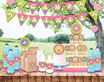 Camping Birthday Party, Customized printable invitation, DIY Party Decoration