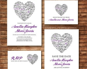 Purple Heart Wedding Invitation RSVP Thank you card Save the date DIY Printable - Customized