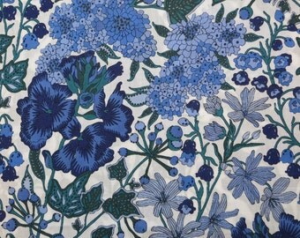 LIBERTY Of LONDON Tana Lawn Cotton Fabric  'Edna' Lg Fat Eighth 10 X 26 Blue Floral