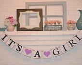 It's a Girl banner, baby shower banner, baby shower, heart, hearts, baby shower, its a girl, it's a girl, banner, purple