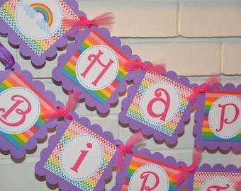 Rainbow birthday banner, rainbow banner, rainbow party, banner 1st birthday banner, chevron banner, rainbow, happy birthday, hot pink banner